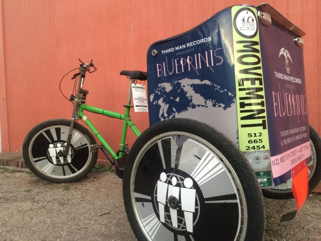 Third man Records SXSW 20115 pedicab advertising with Movemint Bike Cab